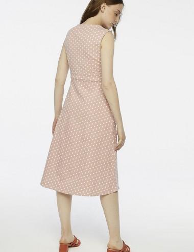 Φόρεμα πουά αμάνικο με κουμπιά Compania Fantastica