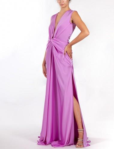 Φόρεμα μάξι κρέπ σατέν με δύο σκισίματα STILLI DELIGIANNI