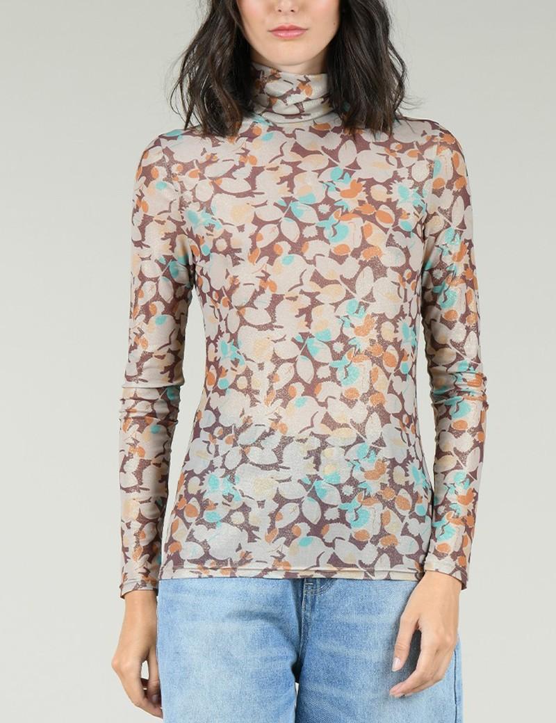 Μπλούζα ζιβάγκο skinny με print  MOLLY BRACKEN
