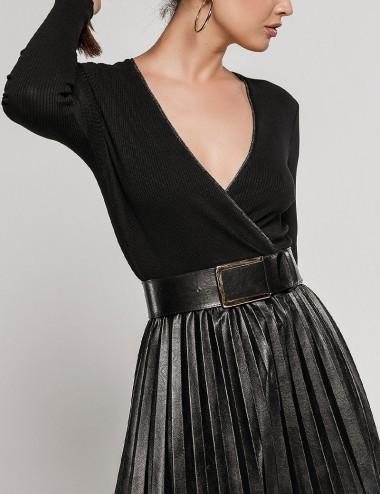 Φόρεμα μίντι πλισέ από συνδυασμό υλικών EIGHT by ACCESS FASHION