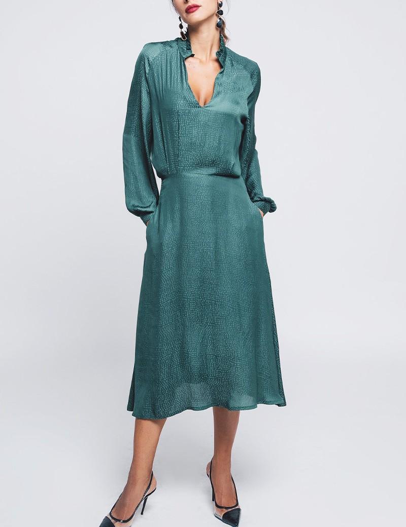 Φόρεμα σατέν ζακάρ ZAZU FASHION