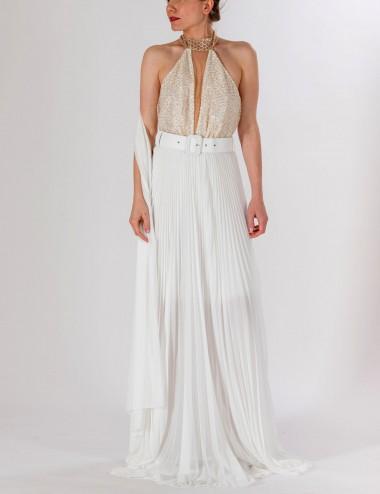 Φόρεμα μάξι εξώπλατο glossy εκρού STILLI DELIGIANNI