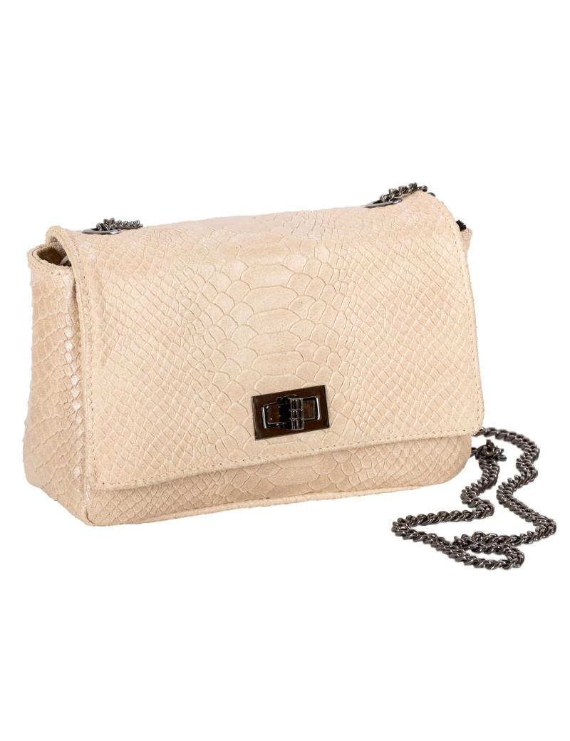 Τσάντα δερμάτινη ώμου με αλυσίδα